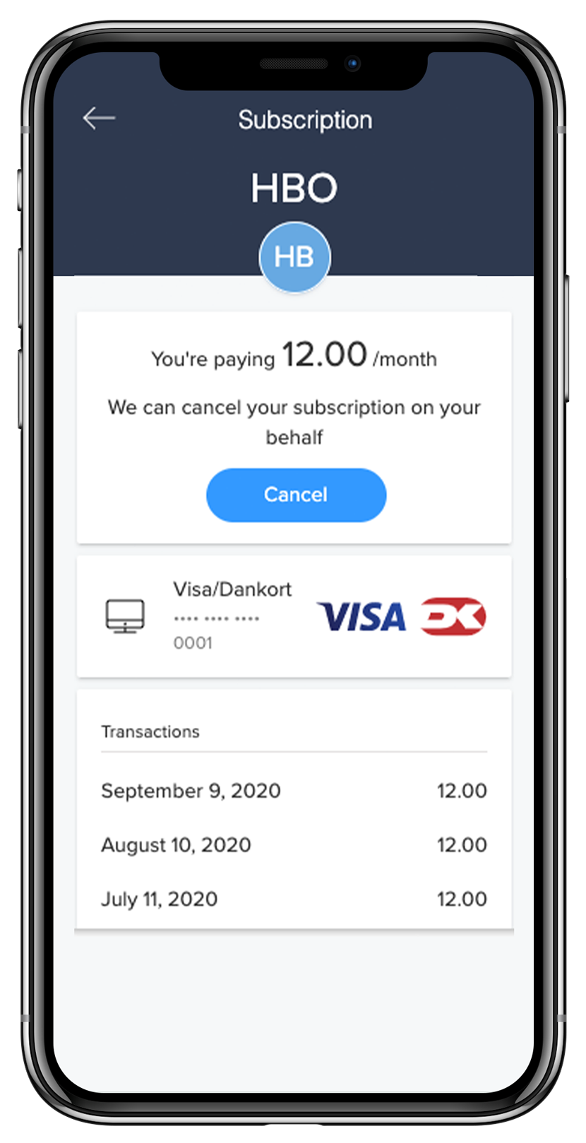 subscription overview in the nordea app